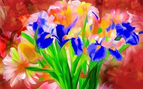 Picture leaves, line, flowers, rendering, paint, petals