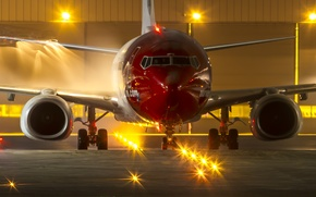 Picture night, lights, airport, the plane, Airbus