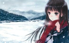 Picture winter, girl, snow, mountains, the city, anime, scarf, art, couples, hidetoshi fujita