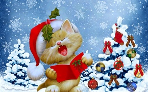 Picture winter, cat, snowflakes, tree, New Year, Christmas, Christmas, winter, snow, tree, New Year