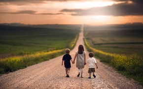 Picture road, children, the way, space, girl, boys