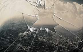 Picture glass, the city, hole, window, monitor, broken