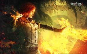 Wallpaper fire, the witcher 2, assassins of kings, Triss