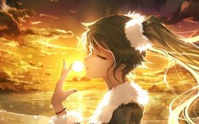 Picture the sky, girl, the sun, clouds, sunset, anime, art, vocaloid, hatsune miku, bai yemeng
