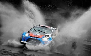Picture Ford, Water, Auto, Sport, Speed, Race, The hood, Squirt, Lights, WRC, the front, Rally, Rally, …