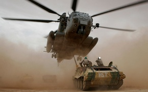 Wallpaper soldiers, helicopter, tank, Helicopter