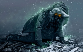 Picture the wreckage, snow, people, plants, hood, gas mask, romance of the Apocalypse, romantically apocalyptic, engineer, …