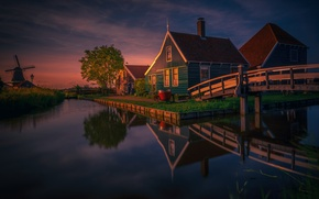 Picture house, pond, reflection, tree, mill, Netherlands, architecture