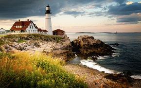 Picture coast, lighthouse, Maine, Cape Elizabeth, Portland Head Light, Gulf of Maine
