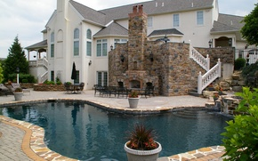 Picture Villa, pool, Best Exterior Design, Outdoor Fireplace