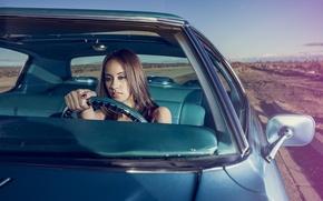 Picture Girl, Auto, Road, Look, Chevrolet, Salon, Girl, The wheel, Model, Impala, Deesis, Clarissa, DeJesus, Clarissa