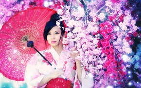 Picture girl, background, Asian