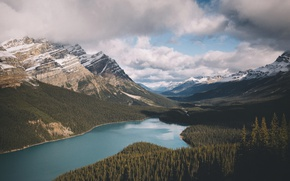 Picture mountains, valley, Canada, lake