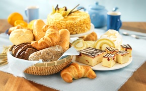 Picture bread, pie, cake, biscuit, buns, croissants