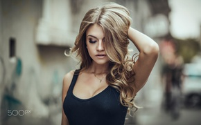 Picture blonde, necklace, portrait, closed eyes, Maria Markova