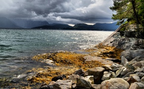 Picture sea, clouds, stones, coast, Norway, The hardangerfjord