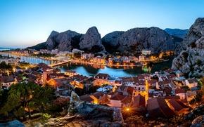 Picture sea, landscape, mountains, nature, the city, the evening, rock, harbour, Croatia, Croatia, The Republic Of …