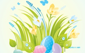 Picture butterfly, flowers, eggs, spring, snowdrops, Easter