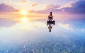 Picture water, girl, algae, reflection, sunrise, the ocean, dawn, Bali, Indonesia, yoga, asana, the Lotus position, …