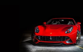 Picture Ferrari, Ferrari, Red, Lights, Parking, Front, Supercar, Before, Parking, Supercar, Berlinetta, Berlinetta, F12, Headlight, Kahn …