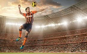 Picture jump, the ball, stadium, FC Shakhtar Donetsk, Eduardo