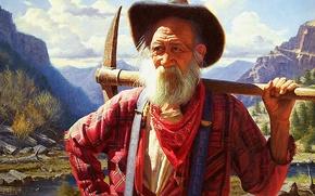 Picture gold, river, life, cowboys, adventure, hopes, open air, aventure, far west