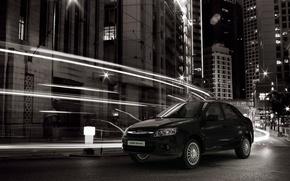 Picture night, the city, speed, Sedan, black, Lada, Lada, Granta, Grant, Wallpaper background