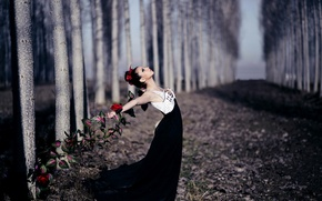 Picture girl, flowers, pose
