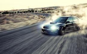 Wallpaper road, smoke, dust, skid, drift, Subaru, Subaru Impreza, Sti, Wrx, Subaru Impreza wrx