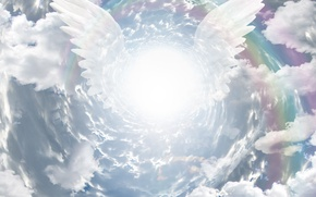 Picture the sky, clouds, wings, angel