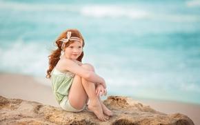 Picture sand, sea, girl, redhead