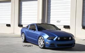 Picture Mustang, Ford, Blue, 5.0, Matte, Silver, Wheels, VMB8, on Velgen