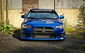 Picture before, mitsubishi, blue, blue, lancer, evolution, evo, Lancer, Mitsubishi