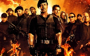 Picture Bruce Willis, Bruce Willis, Arnold Schwarzenegger, Sylvester Stallone, Chuck Norris, Chuck Norris, Jason Statham, Sylvester …
