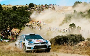 Picture Dust, White, Volkswagen, Speed, People, Turn, Day, Heat, WRC, Rally, Polo