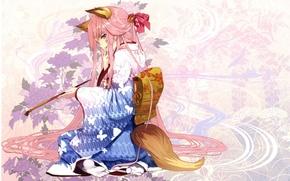 Picture flowers, pattern, girl, tail, kimono, sitting, ears, art, pink hair, Pochiharu, fox girl