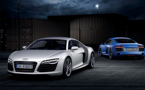 Picture Audi, Night, Blue, White, V10, Containers, Sports car, Two, Plusx
