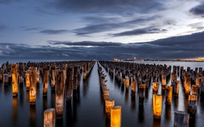 Picture the sky, clouds, light, clouds, the city, lights, the evening, Victoria, Australia, Bay, support, away, ...