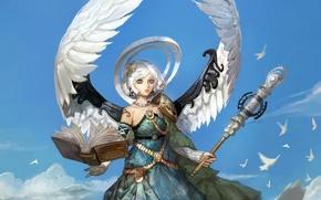 Wallpaper the sky, girl, birds, wings, angel, book