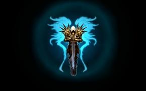 Picture the dark background, wings, sword, art, diablo 3, Tyrael