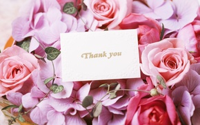 Picture flowers, roses, bouquet, flowers, thank you, bouquet, roses, cards, thank you, card