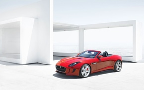 Picture red, Jaguar, Auto, Convertible, the front, Sports car, F-type, Ftype