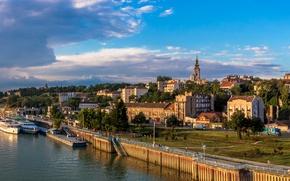Picture clouds, trees, river, home, ships, pier, promenade, Serbia, Belgrade, Belgrade