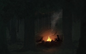 Picture forest, night, smoke, dog, boy, art, the fire, bed