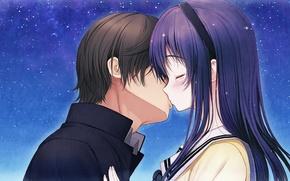 Picture girl, stars, night, kiss, tears, art, pair, guy, two, tsuji santa, kimi to kanojo to …