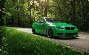 Picture road, greens, summer, BMW, Cleaner Green