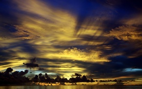 Picture water, clouds, sunset, clouds, the ocean, horizon, The Maldives, twilight, beautiful, the sun's rays, North …