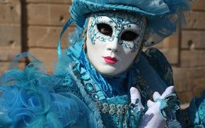 Wallpaper hat, blue, Venice, mask, carnival, costume