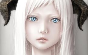 Picture girl, close-up, barcode, art, horns, white hair, bouno satoshi