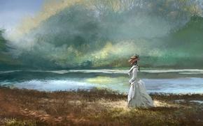 Picture forest, grass, girl, lake, hat, dress, art, walk